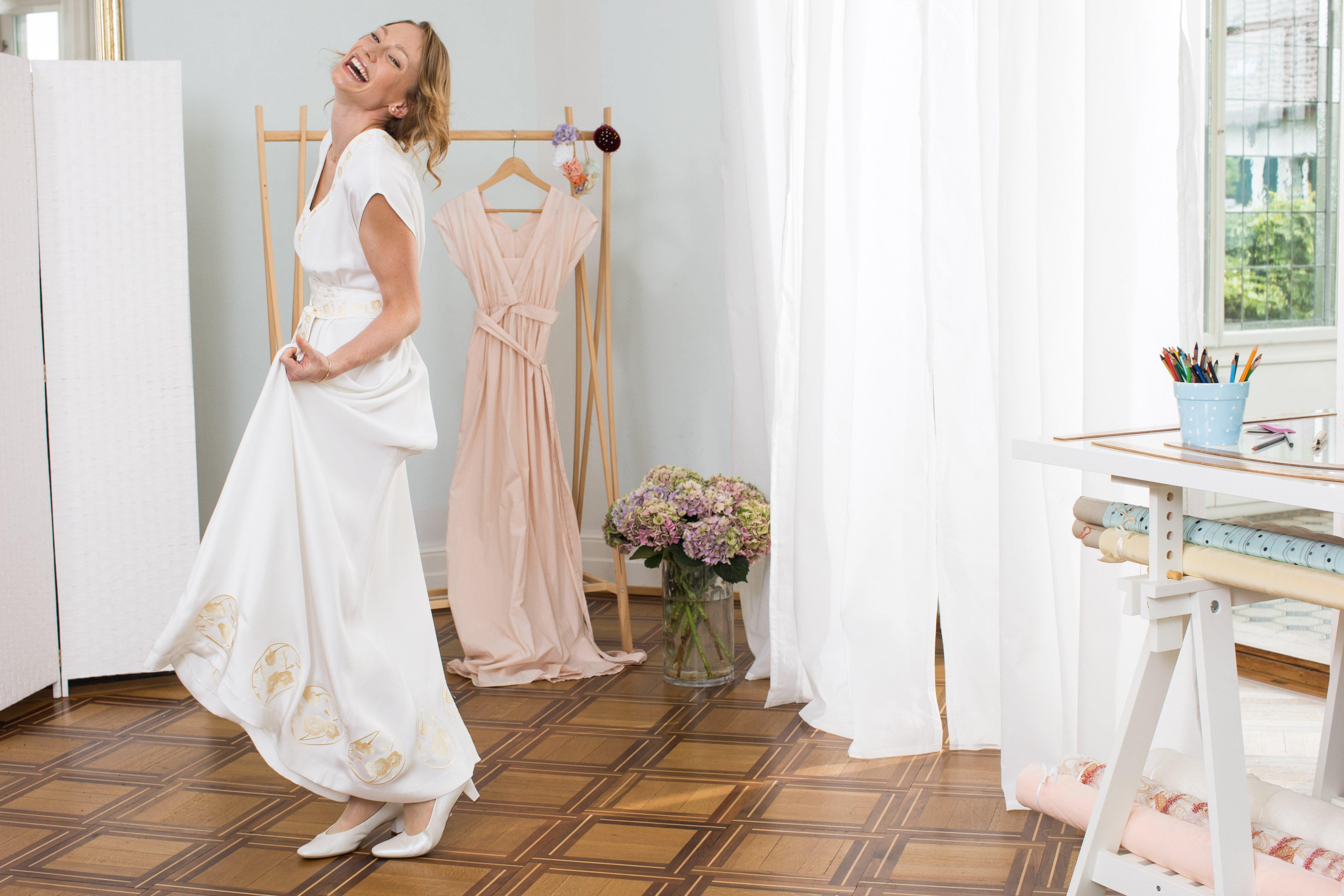 Nähanleitung und Schnittmuster für ein Brautkleid
