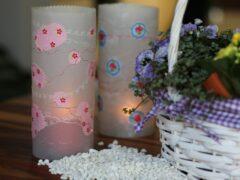 dekorative Windlichter aus Transparentpapier mit Zierstichen verschönert