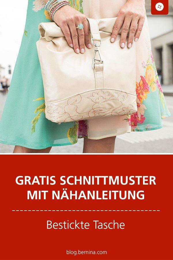 Gratis Schnittmuster mit Nähanleitung: Bestickte Handtasche nähen