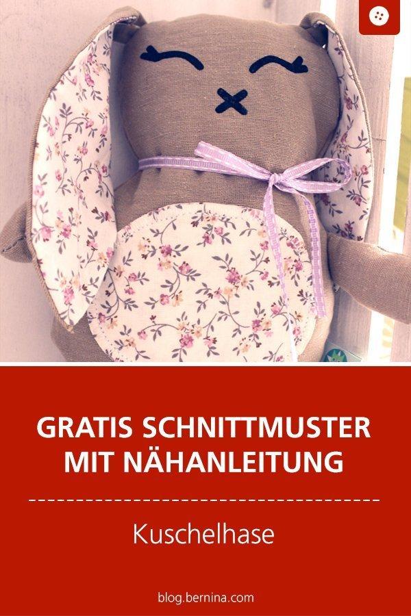 Kostenloses Schnittmuster mit Nähanleitung für einen Kuschelhasen #schnittmuster #nähen #kuschelhase #kuscheltier #nähenmachtglücklich #schnittmusterkinder #nähenfürkinder  #bernina #nähanleitung #diy #tutorial #freebie #freebook #kostenlos