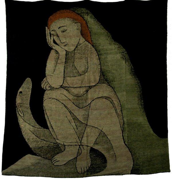Johanna Schütz-Wolff Bildteppich 'Einsamkeit' Hamburg, 1949 Zellwolle, Leinen- und Köperbindung Höhe: 190 cm, Breite 180 cm ©Nachlass Johanna Schütz-Wolff