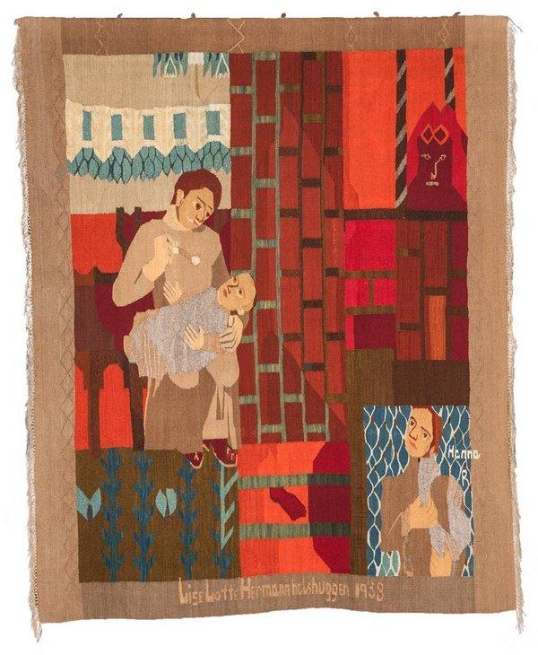 Hannah Ryggen: Lise Lotte Hermann halshuggen,1938 Tapisserie, Wolle, Leinen © All rights reserved Foto: Anders Solberg. Nordenfjeldske Kunstindustrimuseum