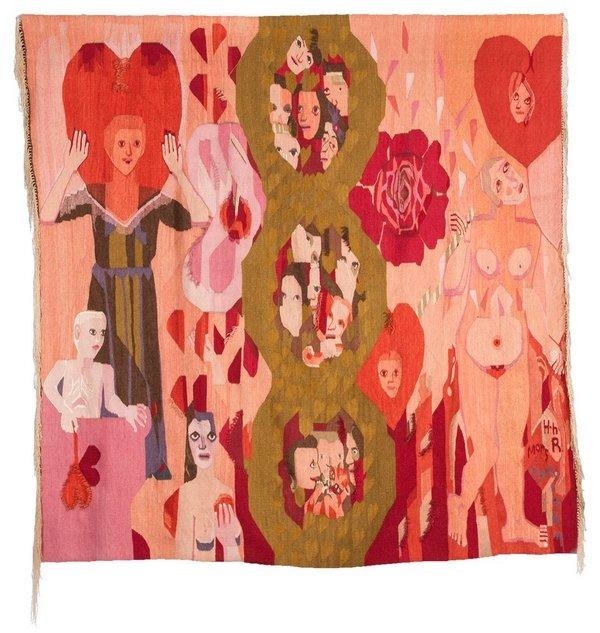 Hannah Ryggen: Mors hjerte, 1947 Tapisserie, Wolle, Leinen © All rights reserved Foto: Anders Solberg. Nordenfjeldske Kunstindustrimuseum