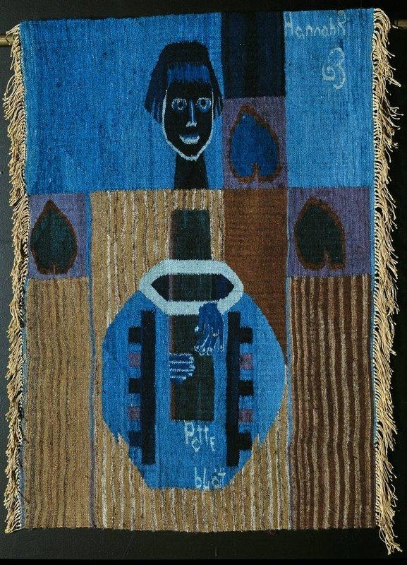 Hannah Ryggen: Potteblått / Pot Blue, 1963 Tapisserie, Wolle, Leinen © All rights reserved Foto: Nasjonalmuseet