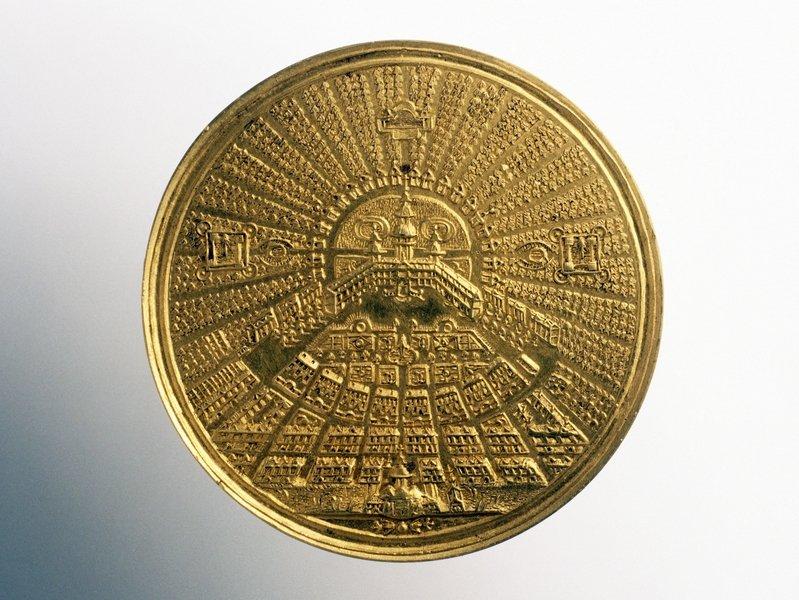 Medaille der Stadtgründung Karlsruhes  Georg Wilhelm Vestner/Johann Thiebaud, um 1720/21 © Badisches Landesmuseum Karlsruhe Foto: Th. Goldschmidt