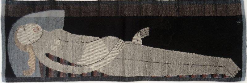 Johanna Schütz-Wolff Bildteppich 'Liegende' Halle/ Saale, 1924 Wolle, Leinen- und Köperbindung, gestickte Konturen Höhe: 70 cm, Breite 150 cm ©Nachlass Johanna Schütz-Wolff
