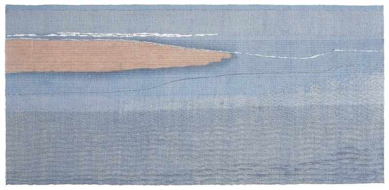 Marie-José Kraaij: Eb (Ebbe) Shibori, Weben, Ikat, Batik STIDOC, international competition  'Water-Land', 2015.   Photo: John Drop