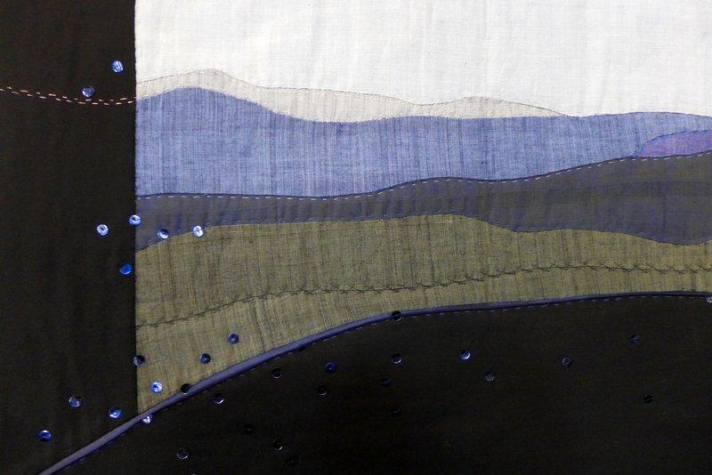 Heidi Emde-Nowak: Morgengrauen, Detail Ausstellung 'Vom Bild zum Quilt' _ Härtsfelder Nadeltwister