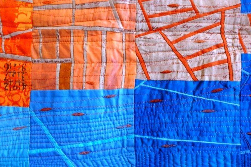 Martina Hilgert-Vervoort: Blockade, Detail Ausstellung 'WQC Quilts 2014'