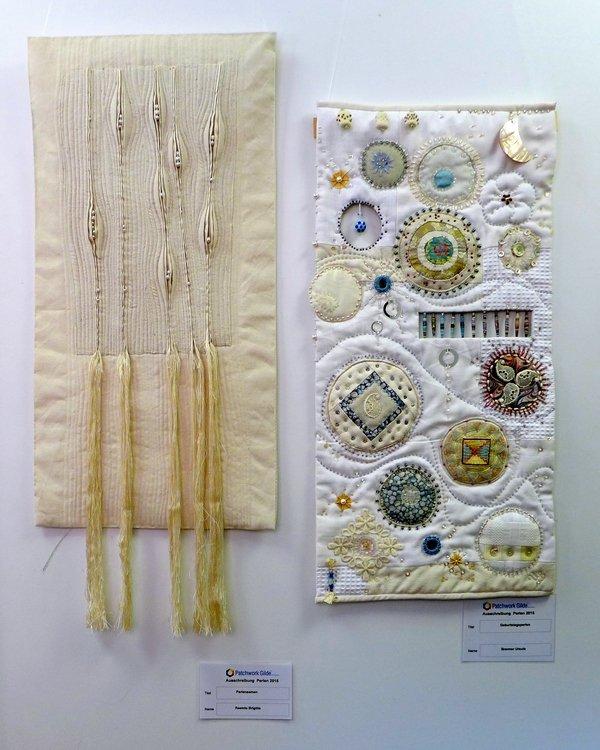 Brigitte Reemts: Perlensamen (li), Ursula Brenner: Geburtstagsperlen (re) Ausstellung 'Perlenquilts' - Ausschreibung der Patchworkgilde