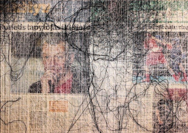Almyra Weigel: Selbst lesen 2014, Zeitung, Nähfäden  Foto: A. Weigel