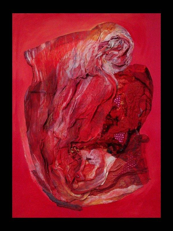 Anke Pradel-Schönknecht: Strudel in Rot Textilkomposition auf Rahmen,  100 x 70 cm, 2013 Foto: Anke Pradel-Schönknecht