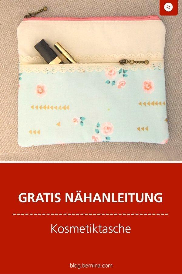 Kostenlose Nähanleitung für eine Kosmetiktasche mit zwei Reißverschlüssen #kosmetiktasche #schminktasche #frauen #etui #tasche #nähen #tutorial #freebook #freebie #kostenlos #nähanleitung #diy #bernina #sewing