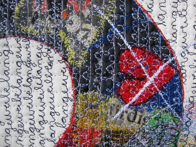 Rita Merten (CH): Warten, Detail Ausstellung Textile News Langeweile Foto: Gudrun Heinz