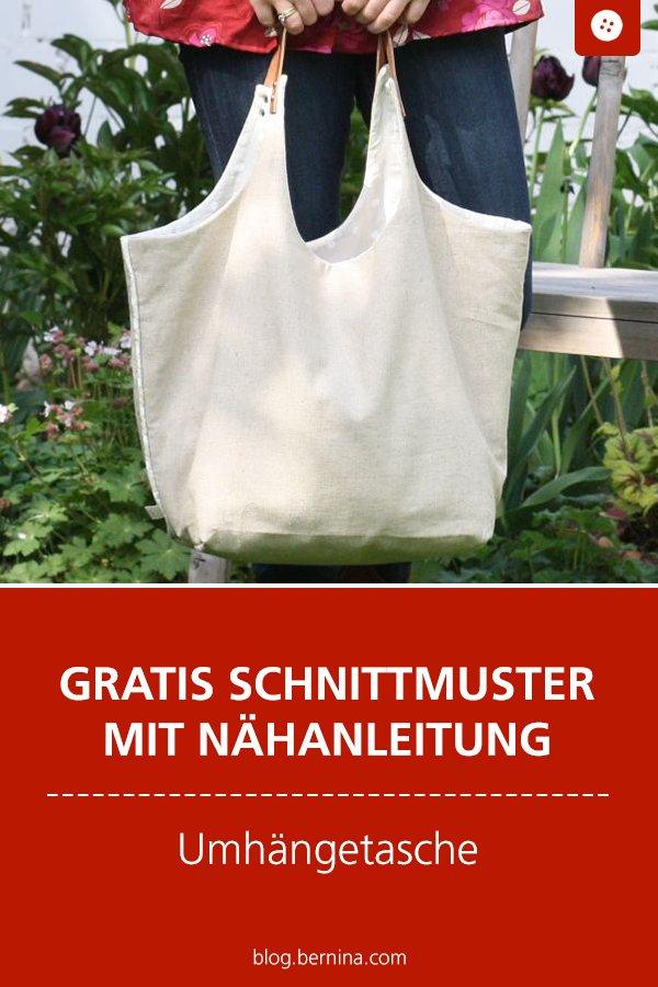 Gratis Schnittmuster mit Nähanleitung (Freebook): Umhängetasche nähen