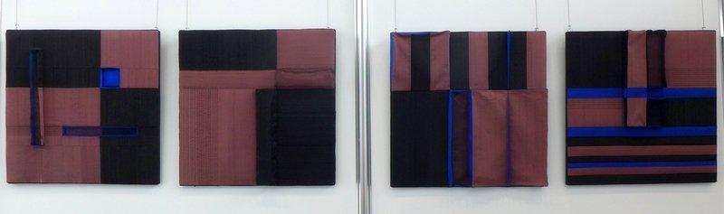Margit Amann von Glembotzki: Geometrische Körper EX I - IV, Seide, Kunstseide Ausstellung 'Zwischenräume'