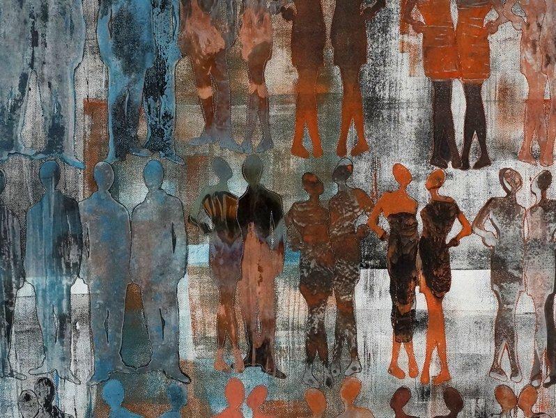Jutta Hellbach: Schnittmenge, Detail Ausstellung 'Wenn die Chemie stimmt'