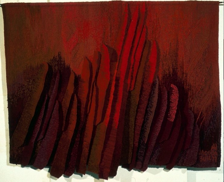 Josep Grau-Garriga (1929-2011) Les Sentiers de l'Eldorado, 1989 Laine, coton, soie, fibres synthétiques, vêtements, 2,34 x 2,90 m Tissage de l'artiste, Barcelone  ® Musées d'Angers