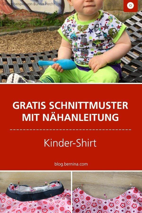 Kostenloses Schnittmuster mit Nähanleitung für Kinder-Shirt  #schnittmuster #nähen #shirt #t-shirt #oberteil #kinder #jungs #mädchen #bernina #nähanleitung #diy #tutorial #freebie #freebook #kostenlos