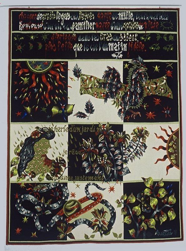 Jean Lurçat (1892-1966) Je parle d'un jardin, 1965 Chaîne coton, trame laine, 2,42 x 1,80 m Carton de 1943, tissage Raymond Picaud, Aubusson ® Musées d'Angers, François Baglin