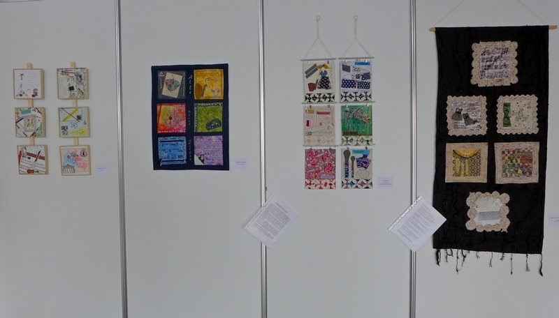Christine Bünning: TaTü's, Barbara Brockhausen: Alle meine Lieben, Jutta Erner: Und drinnen waltet die züchtige Hausfrau, Susanne Dörrmann-Müller: Frauen meiner Jugend (v.l.n.r.) textilkunstalternativ - Die Alküns: Ausstellung 'Alküns IX'