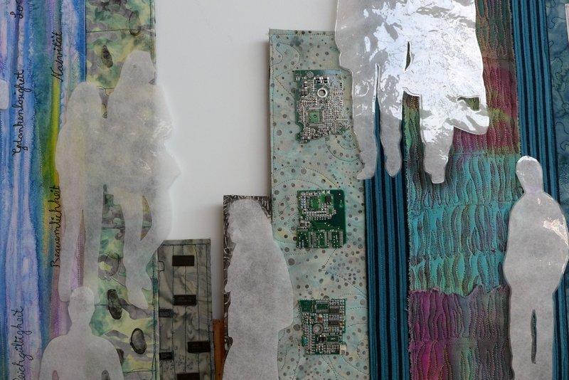 Birgit Friese: Der gläserne Mensch, Detail textilkunstalternativ - Die Alküns: Ausstellung 'Alküns IX'