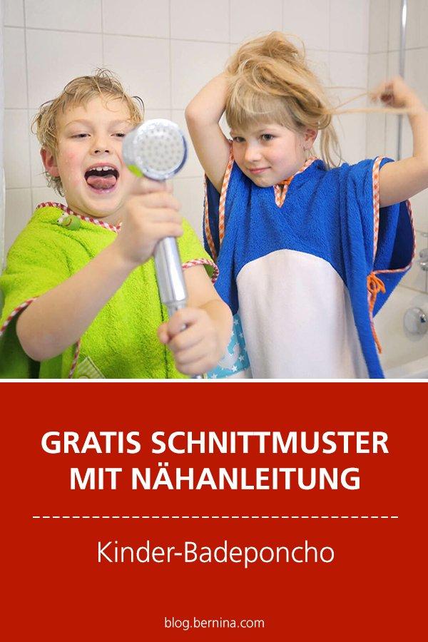 Kinderbadeponcho nähen – Anleitung mit Schnittmuster und Gratis-Stickpinguine