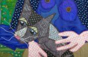 Bodil Gardner: Girl with a Cat, Detail Ausstellung 'Bodils Patchwork Bilder'