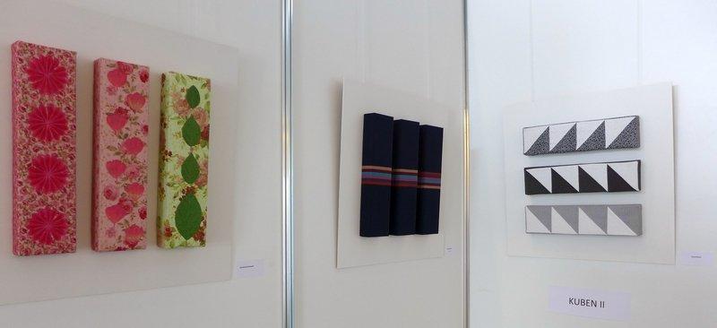 Arbeiten von Annemarie Kowach, Myriam Winter und Karla Röstel (v.l.n.r.) Ausstellung 'freistil'
