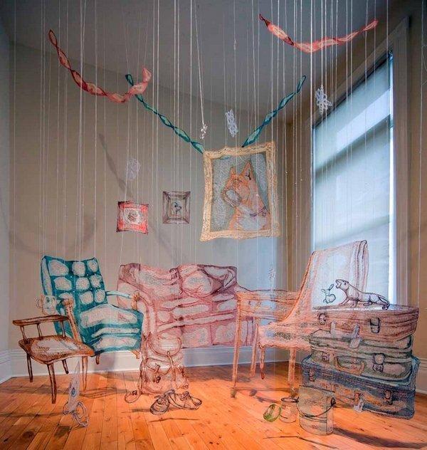 Rijswijk Textile Biennial 2015 Amanda McCavour: Living Room, 305 x 305 x 305 cm, 2010 - 2011 Foto: Agata Piskunowicz