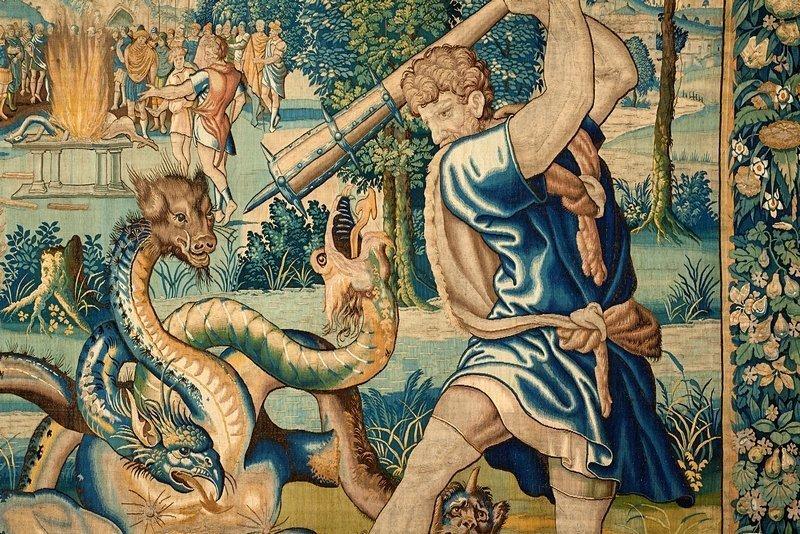 Herkules schlägt mit der Keule die Köpfe der lernäischen Hydra ab Tapisserie aus der Serie 'Die Taten des Herkules' (Ausschnitt) Hergestellt unter Michiel van Orley, Oudenaarde, um 1550/65 Wolle, Seide; 418 x 544 cm Kunsthistorisches Museum, Kunstkammer © KHM-Museumsverband