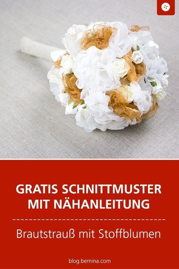 Kostenlose Nähanleitung für einen Brautstrauss aus Stoffblumen #hochzeit #heiraten #braut #strauss #brautstrauss #nähen #tutorial  #freebook #freebie #kostenlos #nähanleitung #diy #bernina