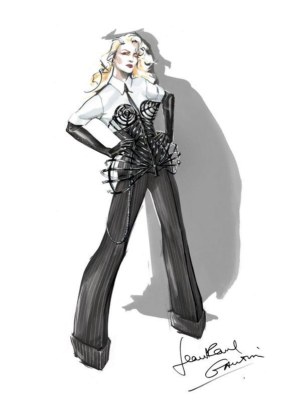 Jean Paul Gaultier Skizze des Bühnenkostüms für die MDNA World Tour, 2012 von Madonna. Lacklederkorsett mit '3D-Effekt' © Jean Paul Gaultier