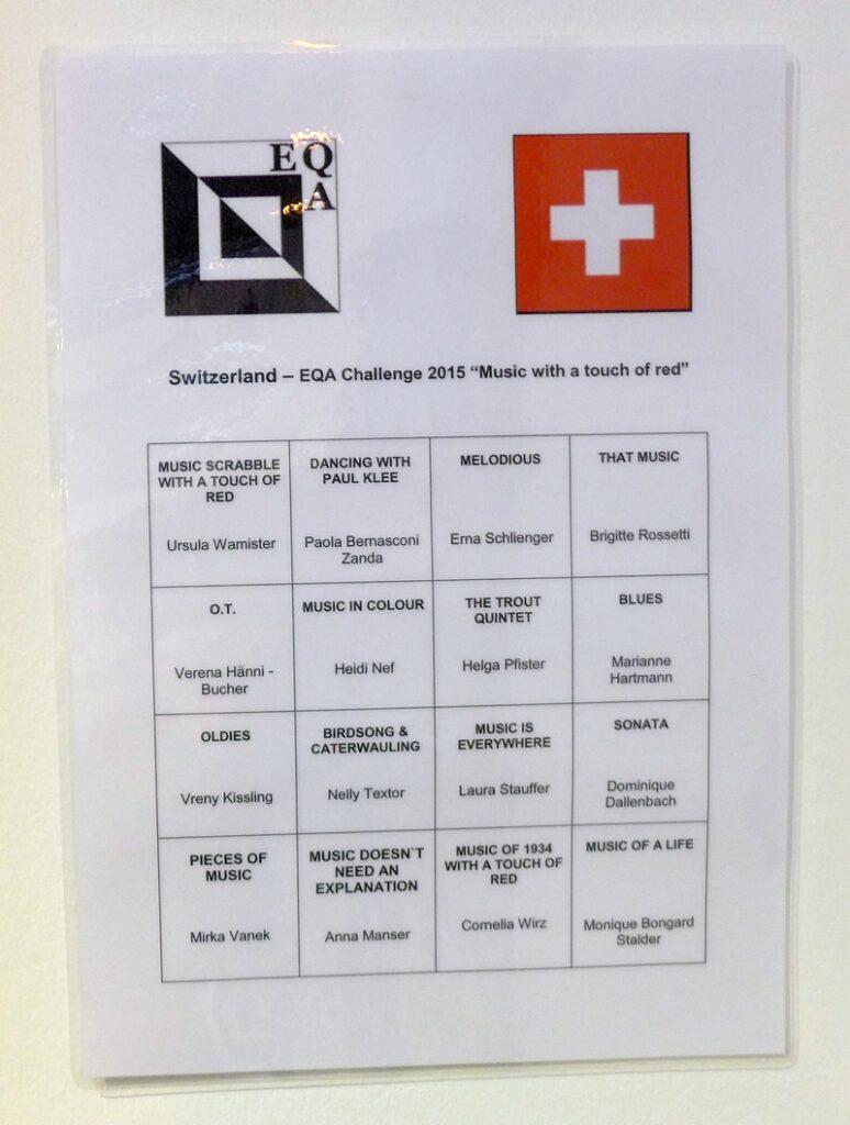 Die Teilnehmer aus der Schweiz EQA Ausstellung 'Music - with a touch of red' The Festival of Quilts 2015
