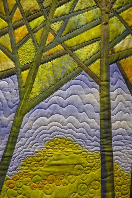 Gloria Loughman: Autumn Reflections, Detail Ausstellung 'Radiant Landscapes' The Festival of Quilts 2015