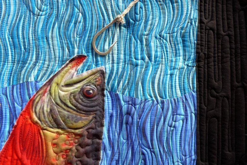 Adriana Díaz Romo // Quilting: Kitt J. Vincent: The fish dies by its own mouth, Detail Quilters de México Ausstellung 'Mexican Sayings and Proverbs' The Festival of Quilts 2015