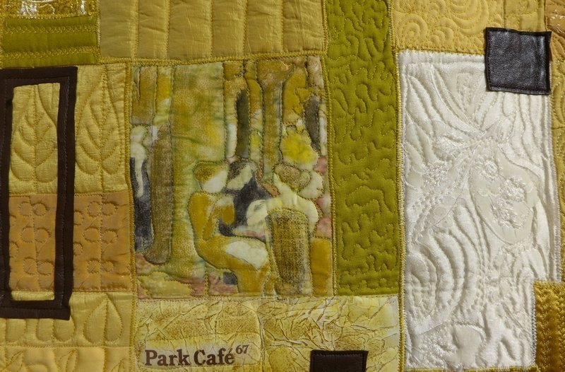 Mirka Kalinova: Park Cafe, Detail Ausstellung Prague Patchwork Meeting 'Leder & Pelz' The Festival of Quilts 2015