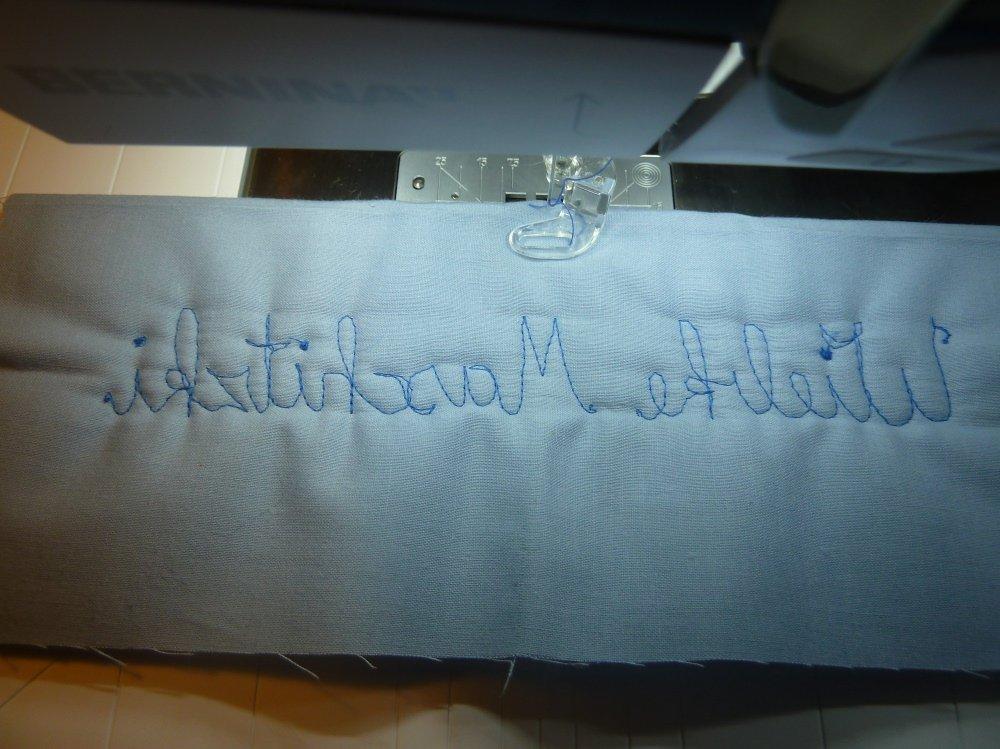 Schreiben lernen mit der Nähmaschine, bei den Stehbeuteln