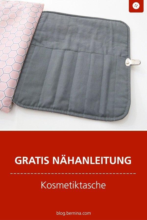 Kostenlose Nähanleitung für eine aufklappbare Kosmetiktasche #tutorial #tasche #utensilo #etui #schminktasche #kosmetikatsche #frauen #nähen #nähanleitung #diy #bernina
