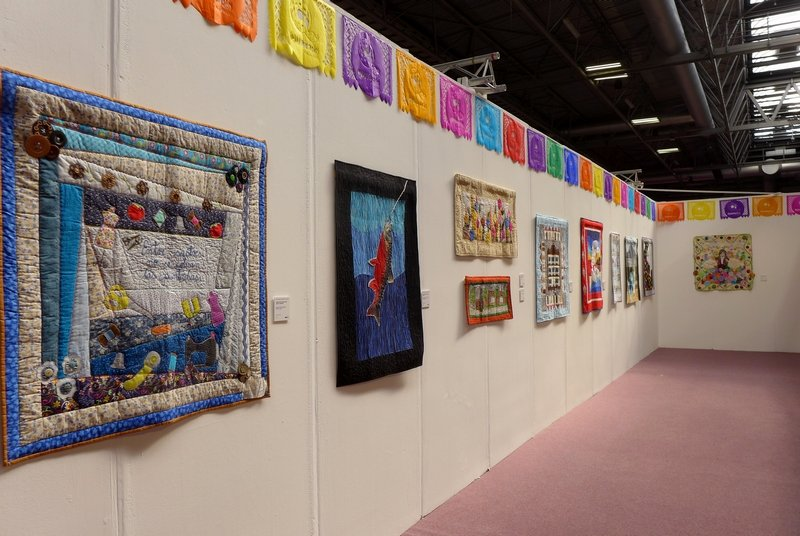 Quilters de México Blick in die Ausstellung 'Mexican Sayings and Proverbs' The Festival of Quilts 2015