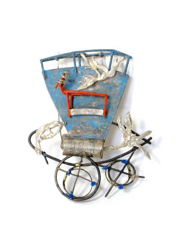 Saskia Detering: Brosche Stahl, Silber, Emaille, Lack montiert, gegossen Foto: © S. Detering