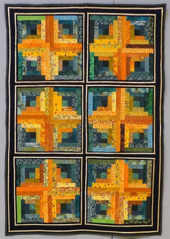 Hannelore Nunn: Lorchen's Logs Beispiel für eine Arbeit der Traditional Group The Festival of Quilts 2015