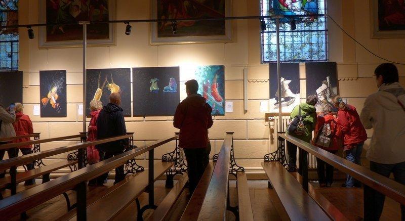 Blick in die Ausstellung von Birgitte Busk (DK) 'Auf dem Eis' 21. Europäisches Patchwork Treffen 2015