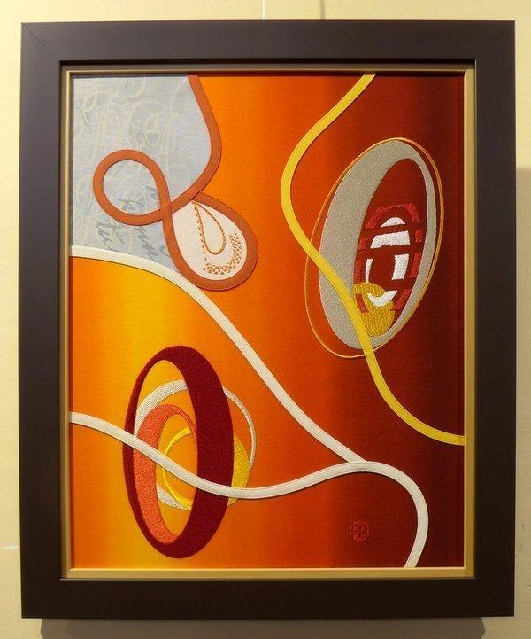 Brigitte Paumier (F): Regard dans l'univers Ausstellung 'Punkt, Linie und das Spiel mit den Formen' 21. Europäisches Patchwork Treffen 2015