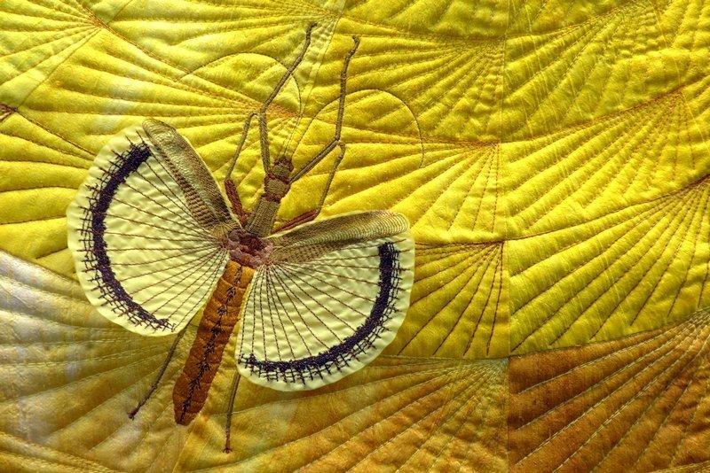 Barbara Lange (D): Monochrom 20 - Cicada, Detail Ausstellung von 'Farbe des Lebens' 21. Europäisches Patchwork Treffen 2015