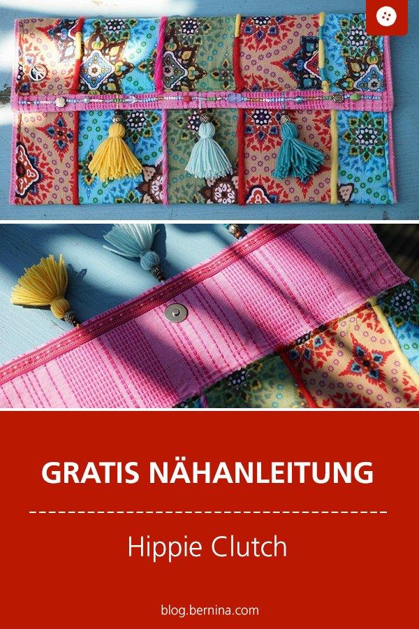 Kostenlose Nähanleitung: Hippie-Clutch / Boho Stil Handtasche
