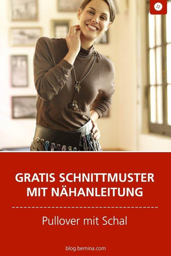 Kostenloses Schnittmuster mit Nähanleitung für ein Shirt mit Schal #schnittmuster #nähen #pullover #shirt #longsleeve #damen #frauen #herbst #winter #schal #bernina #nähanleitung #diy #tutorial #freebie #freebook #kostenlos
