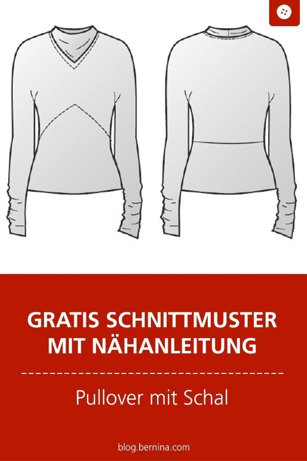 Kostenloses Schnittmuster mit Nähanleitung für ein Shirt mit Schal ...