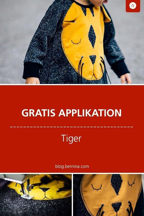 Kostenlose Applikationsvorlage Tiger #anleitung #applikation #tiere #tiger #kinder #kleidung #applizieren #nähen #bernina #nähanleitung #diy #tutorial #freebie #freebook #kostenlos