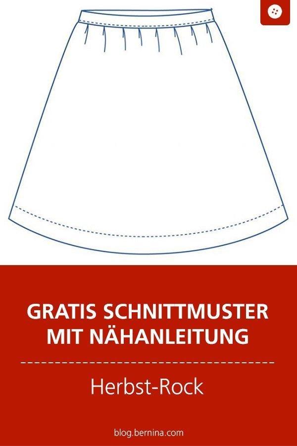 Kostenloses Schnittmuster mit Nähanleitung für einen Herbst-Rock #schnittmuster #nähen #rock #herbst #frauen #damen #bernina #nähanleitung #diy #tutorial #freebie #freebook #kostenlos
